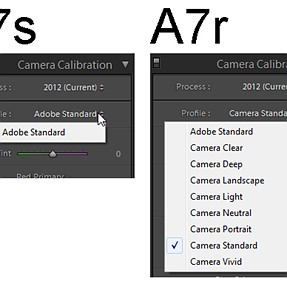 Lightroom Camera Calibration A7s - missing profiles