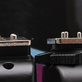 Anyone havin' trouble with RF 603-II and D300s hotshoe? pins rather long (picture)