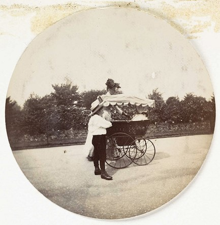 Woman, boy and a pram (<em>circa</em> 1890)
