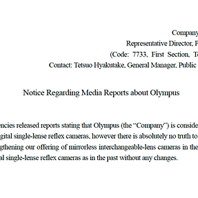 What Olympus actually promised: