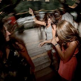 Motion blur during wedding reception dancing
