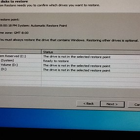 System restore leading to wrong drive
