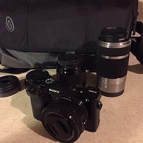 a6000, lenses, SD, bag
