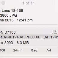 Nikkor Lens AF-S 18-105mm 1:3.5-5.6 G ED Info shows:Tokina AT-X 124 AF PRO DX II (AF 12-24mm f/4)